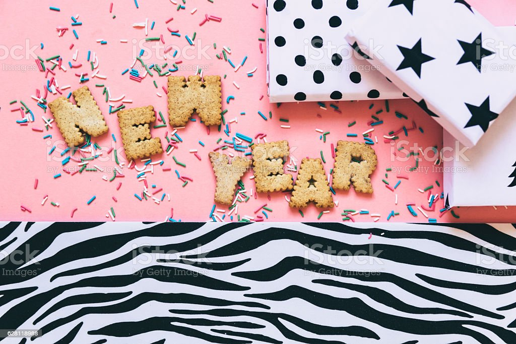 Biscuits 'New Year' with decor stock photo