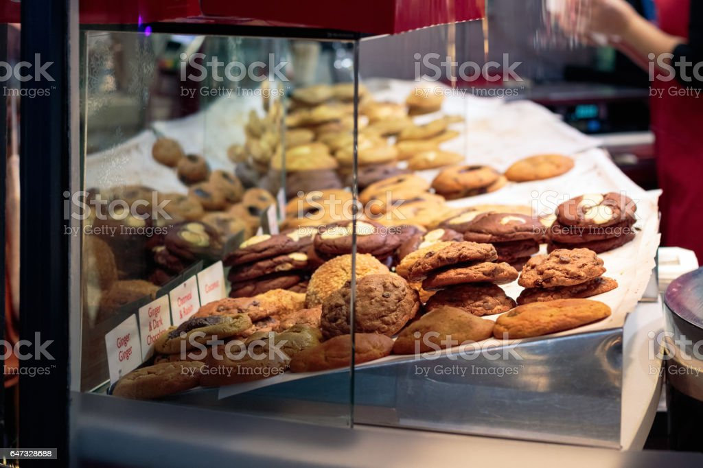 Biscuits on display at Covent Garden stock photo