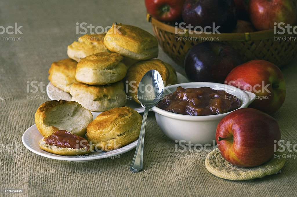 Biscuits with apple butter stock photo