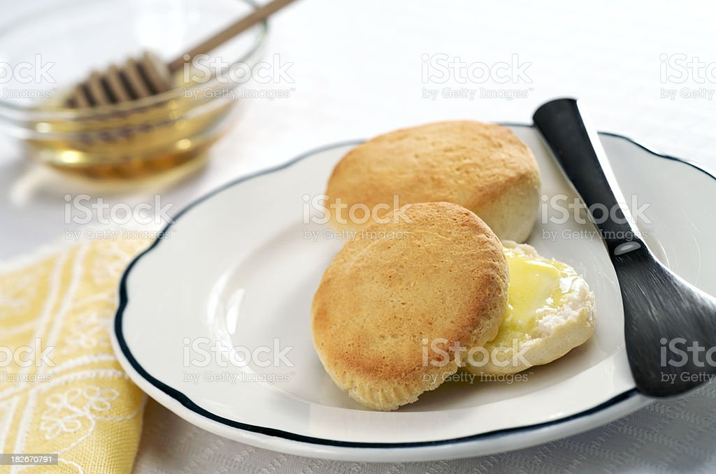 Biscuits with Butter and Honey stock photo