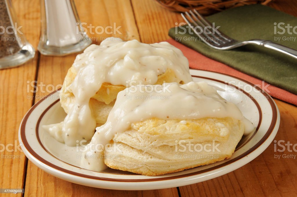 Biscuits with pepper gravy stock photo
