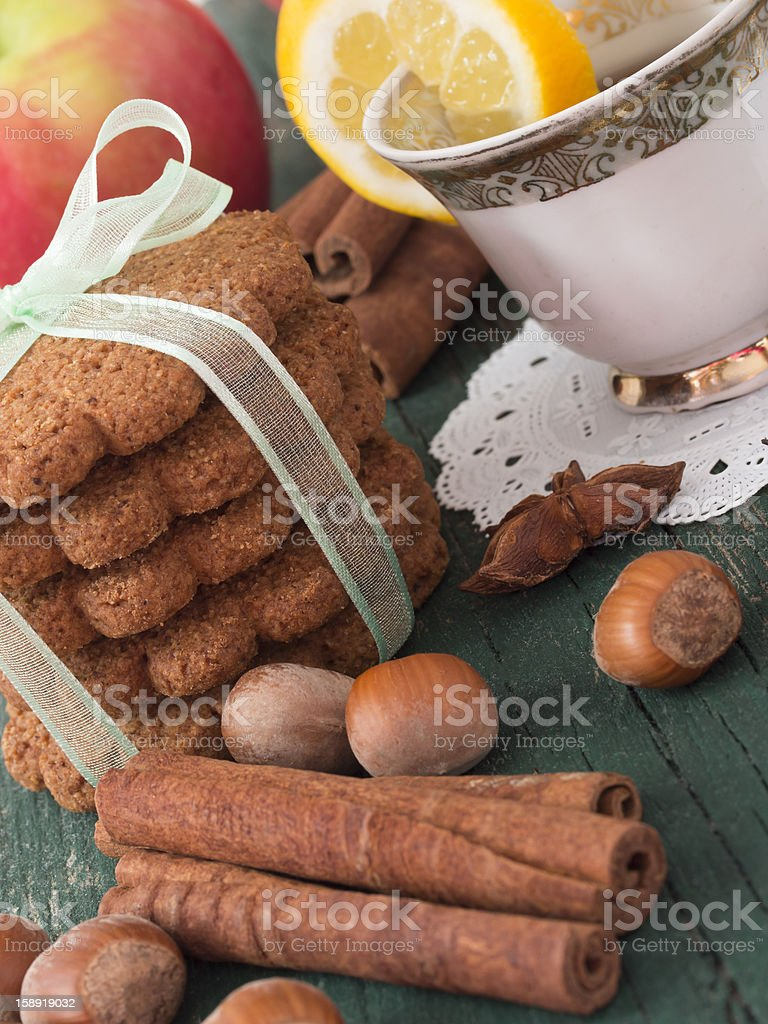 biscuits with tea royalty-free stock photo