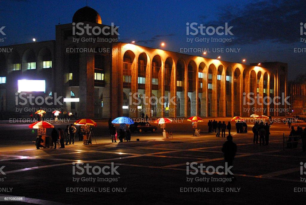 Bishkek, Kyrgyzstan: Chui avenue arcade at night stock photo