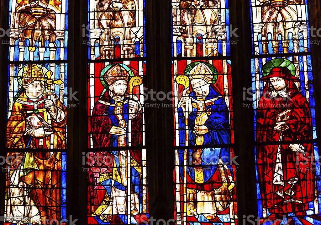 Bishops Cardinal Stained Glass Seville Cathedral Spain royalty-free stock photo