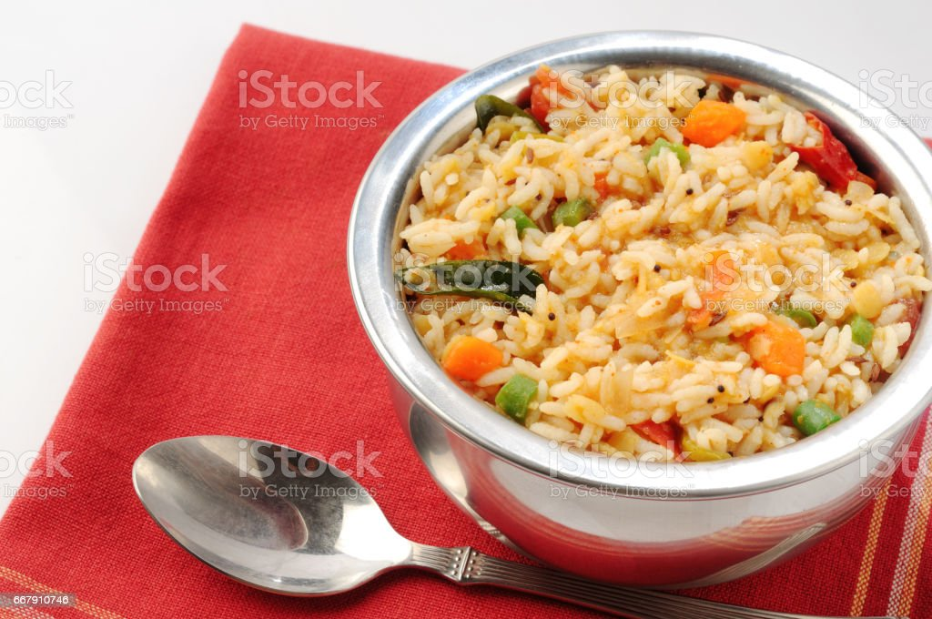 Bisibele Bhath south Indian cuisine/sambar rice stock photo