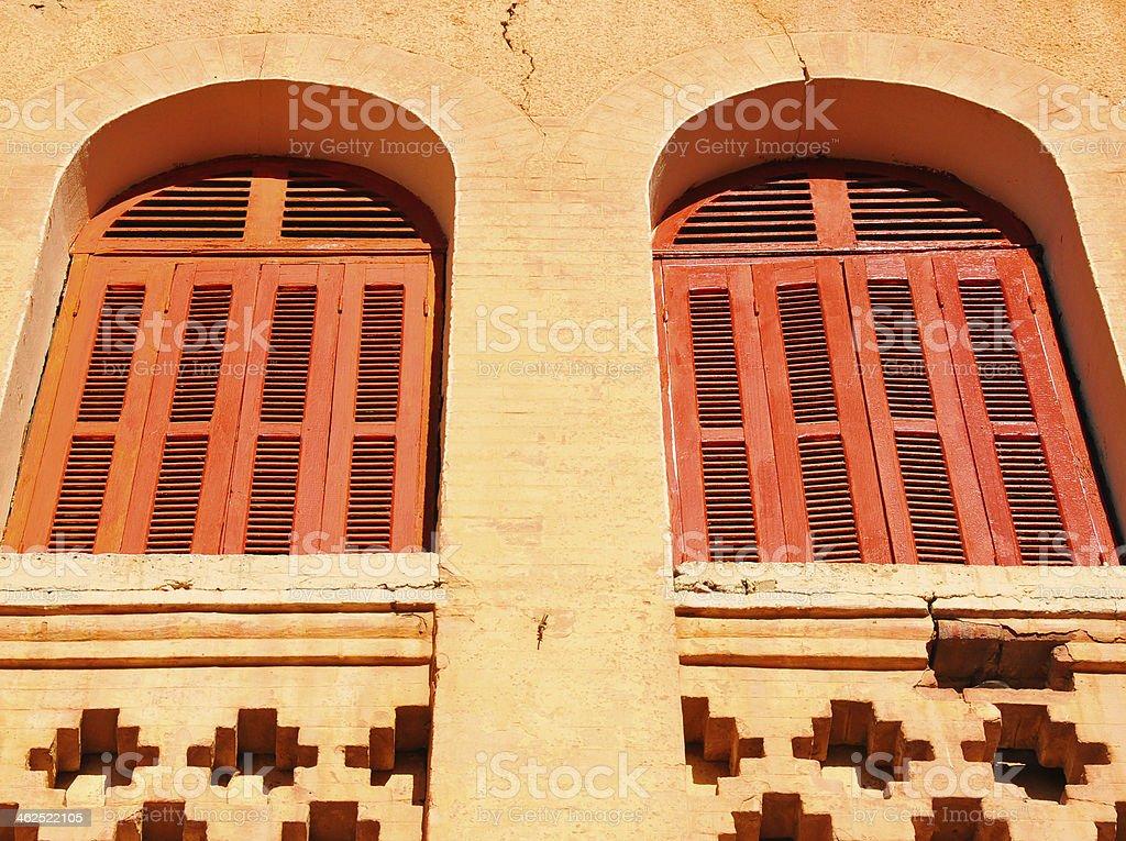 Biskra, Algeria: windows with louvers stock photo