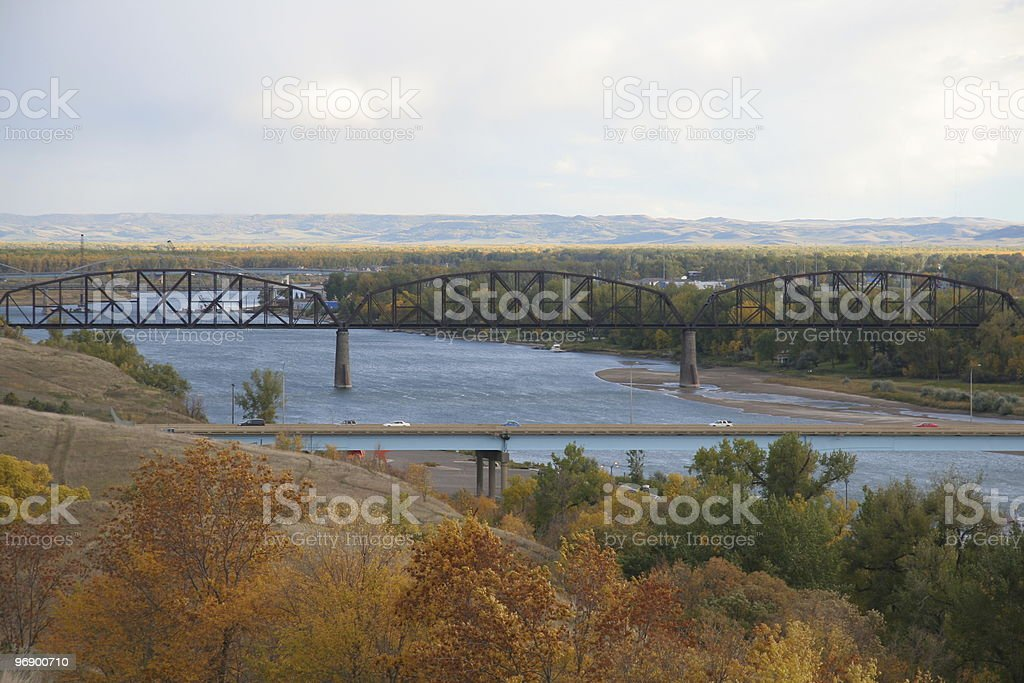 Bismarck Bridges in Fall stock photo