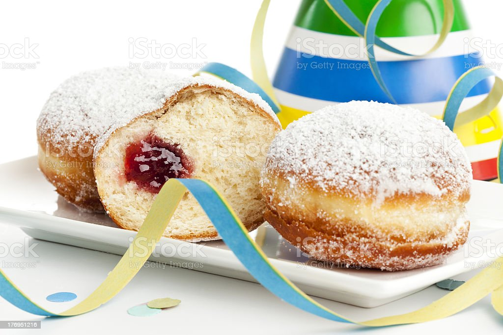 Bismarck donuts and party decoration stock photo