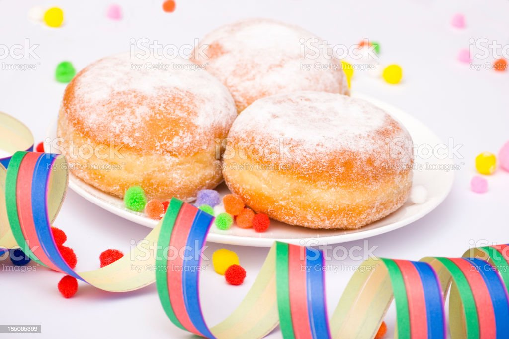 Bismarck Donuts with Party Decoration stock photo