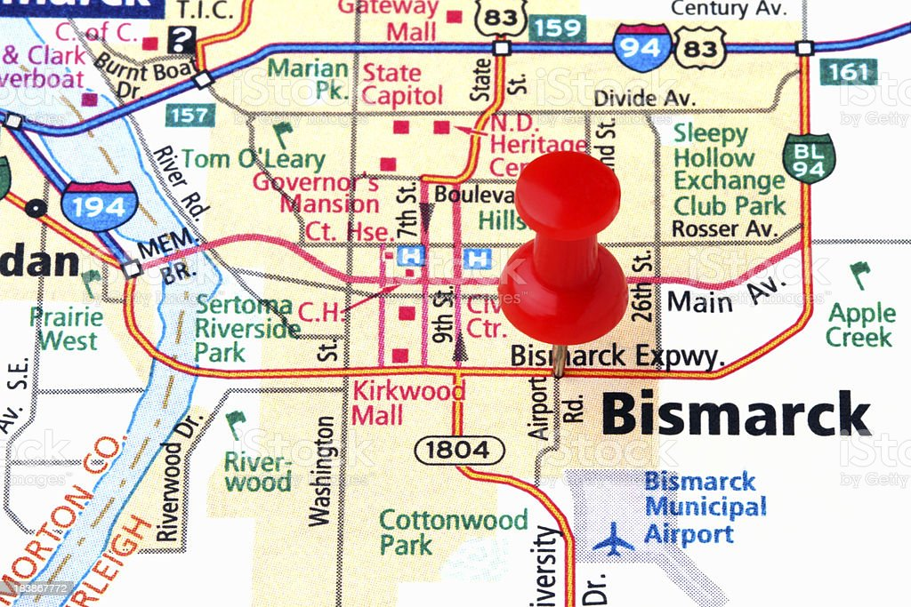 Bismarck on a Map. stock photo