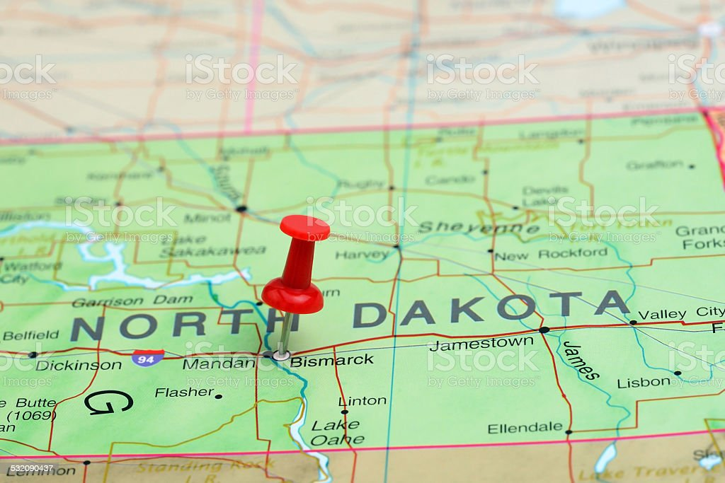 Bismarck pinned on a map of USA stock photo