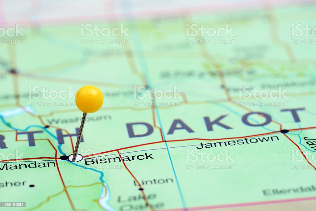 Bismarck Pinned On A Map Of Usa stock photo 538454081 iStock