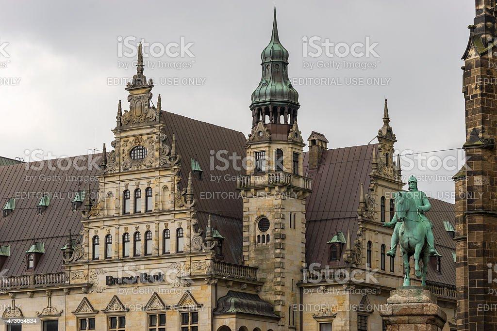 Bismarck's monument in Bremen stock photo