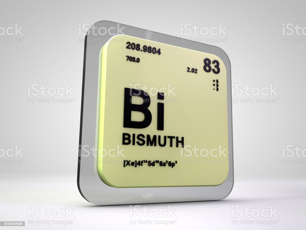 bismuth - Bi - chemical element periodic table 3d render stock photo