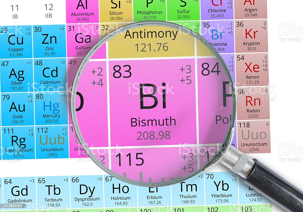 Bismuth - Element of Mendeleev Periodic table magnified with magnifier stock photo
