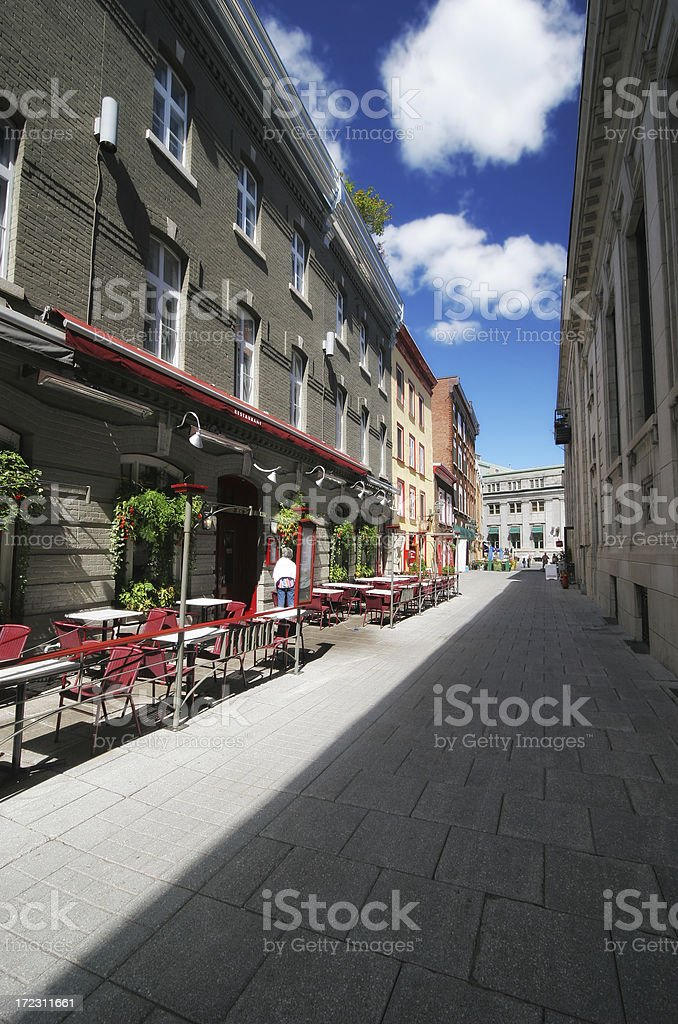 Bistro in a small Old Quebec City alley royalty-free stock photo