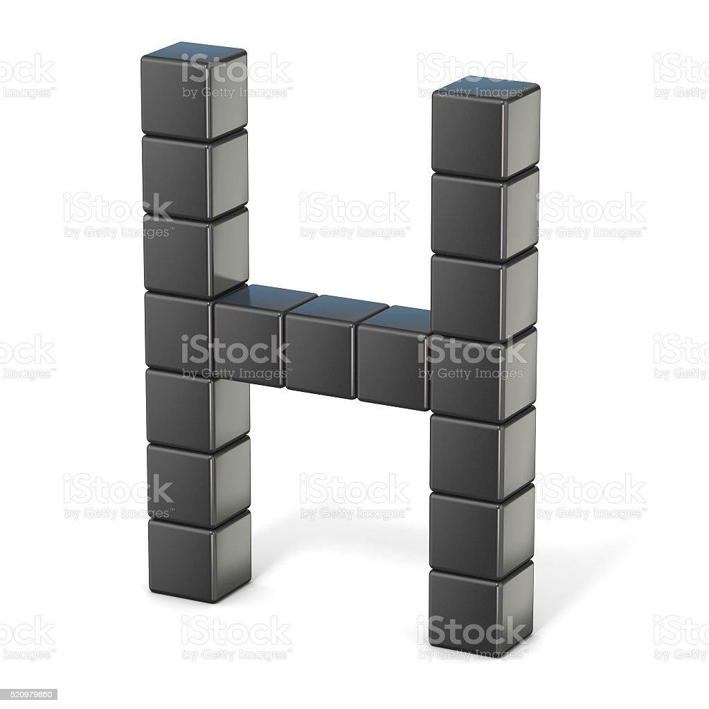 8 bit font. Capital letter H. 3D stock photo