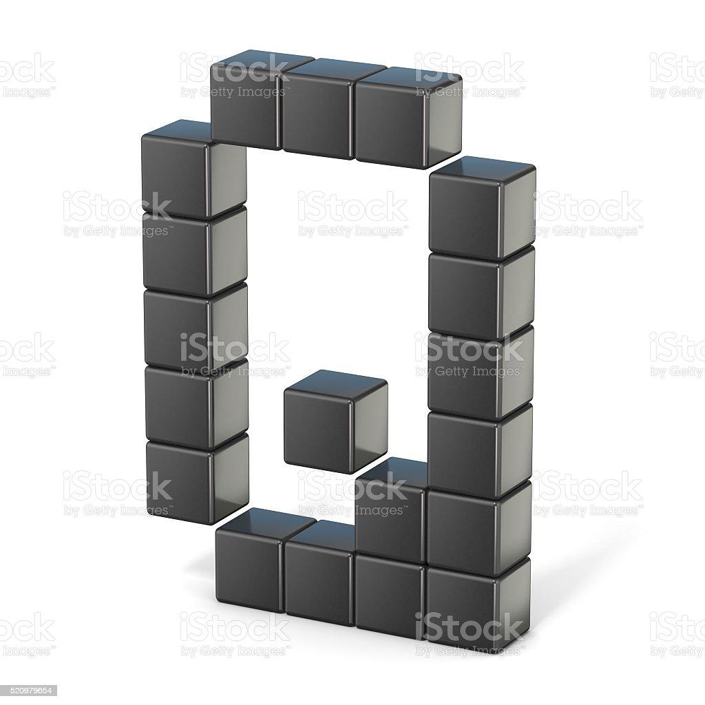 8 bit font. Capital letter Q. 3D stock photo