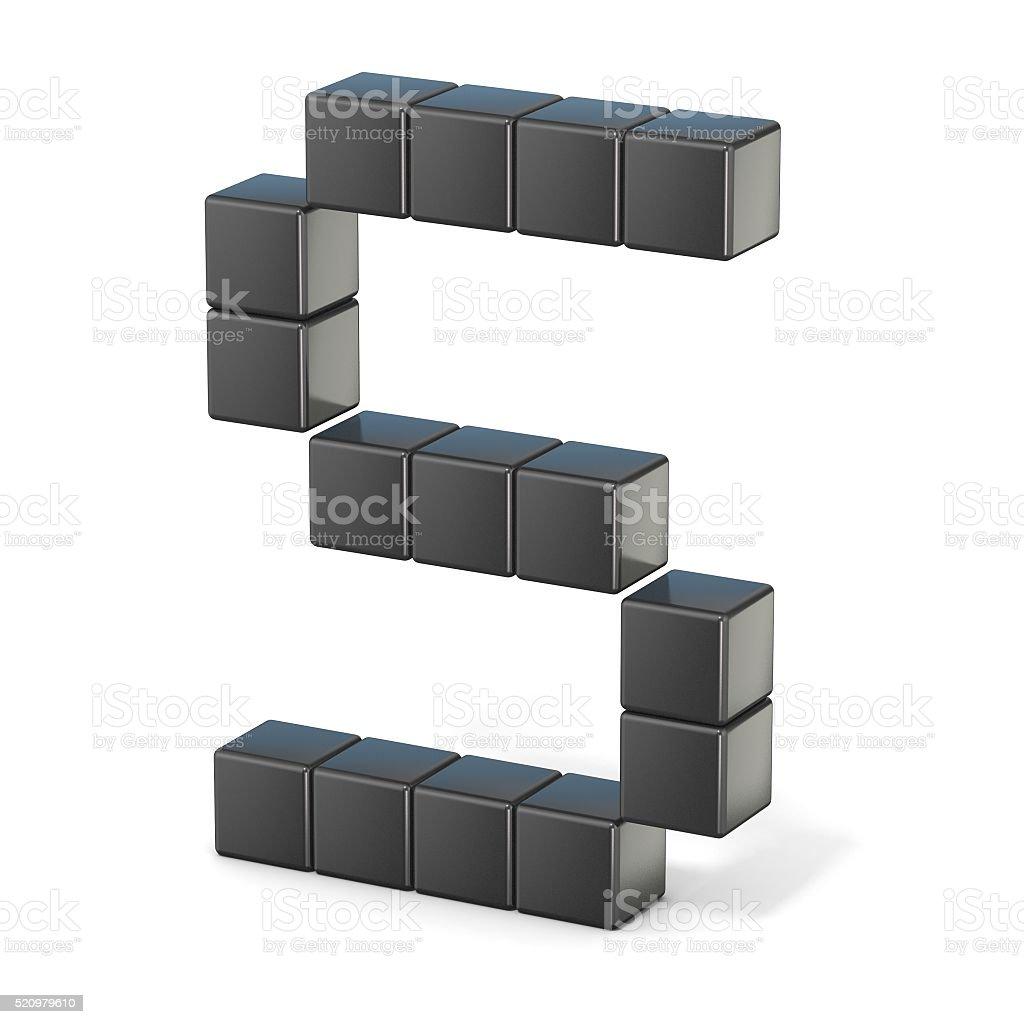 8 bit font. Capital letter S. 3D stock photo