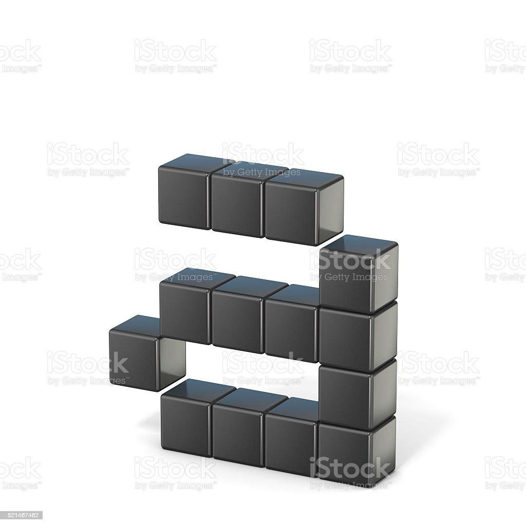 8 bit font. Lowercase letter A. 3D stock photo