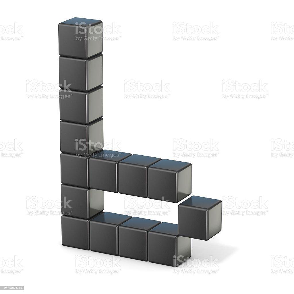 8 bit font. Lowercase letter B. 3D stock photo