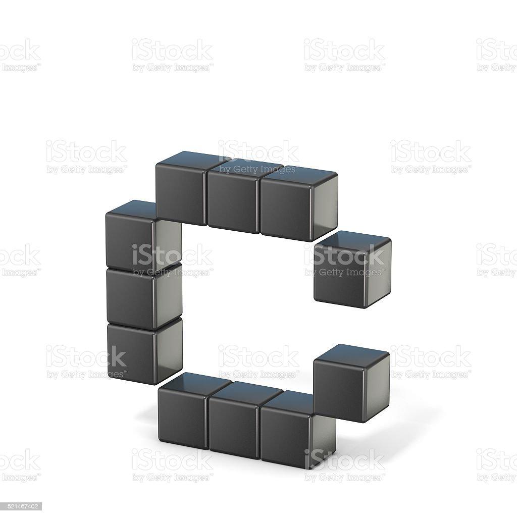8 bit font. Lowercase letter C. 3D stock photo