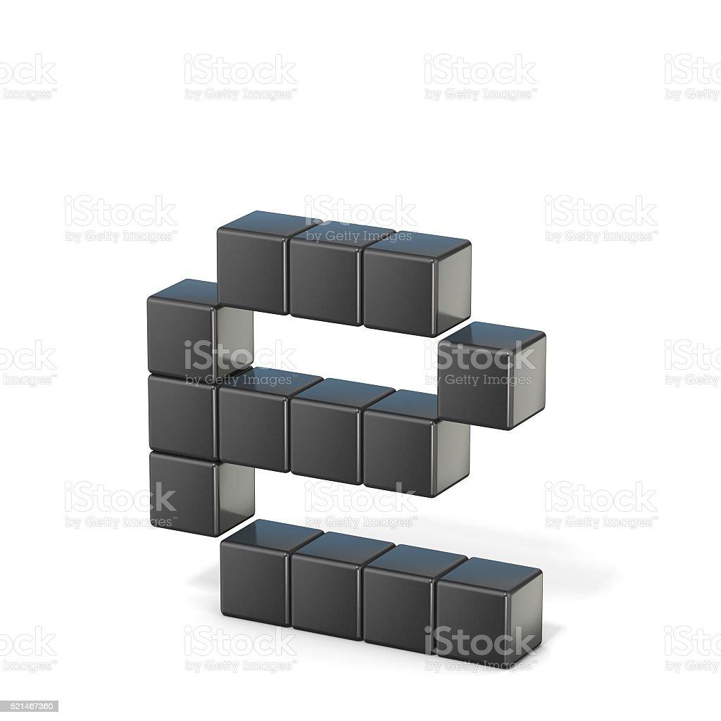 8 bit font. Lowercase letter E. 3D stock photo