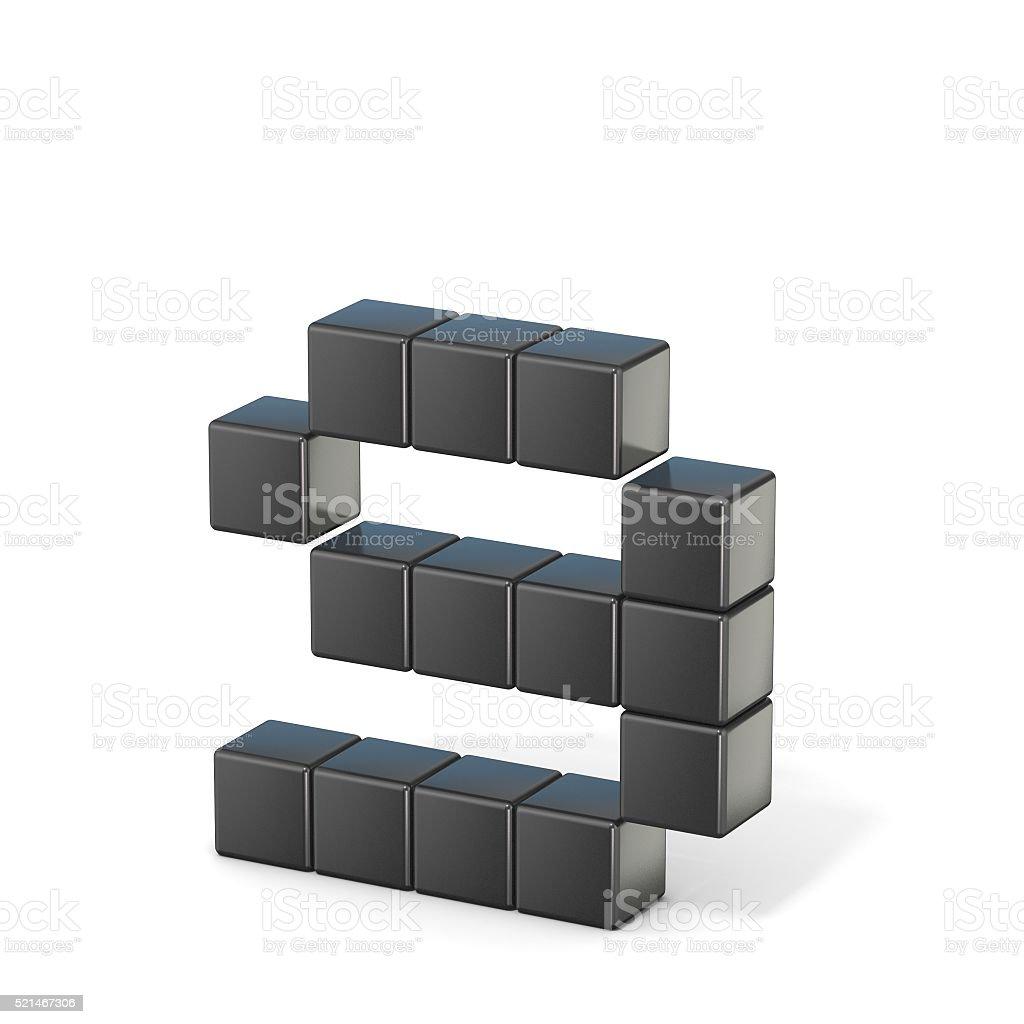 8 bit font. Lowercase letter G. 3D stock photo