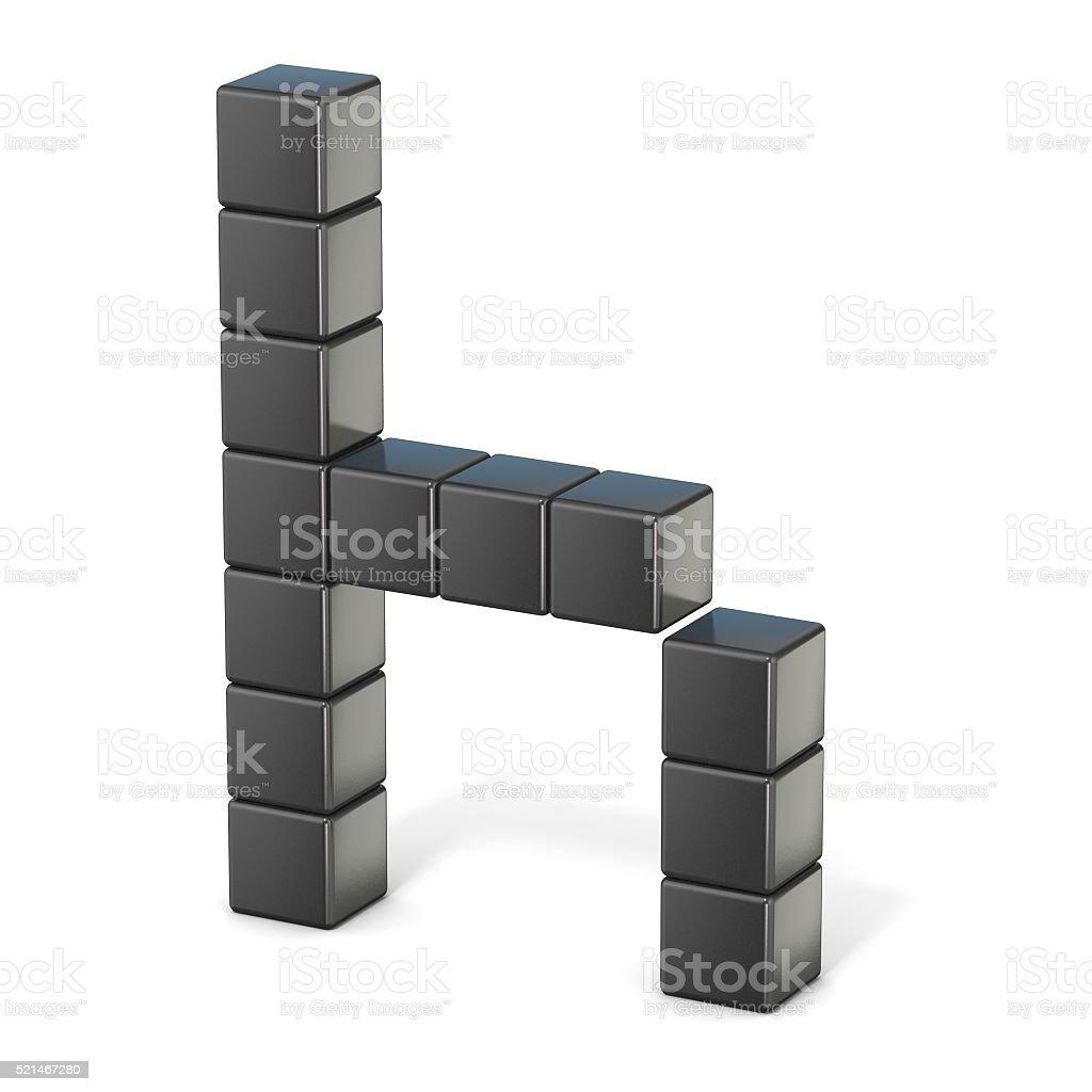 8 bit font. Lowercase letter H. 3D stock photo