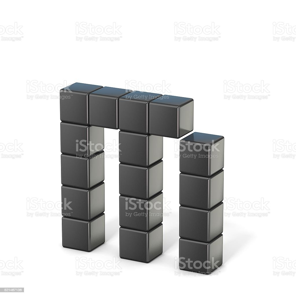 8 bit font. Lowercase letter M. 3D stock photo