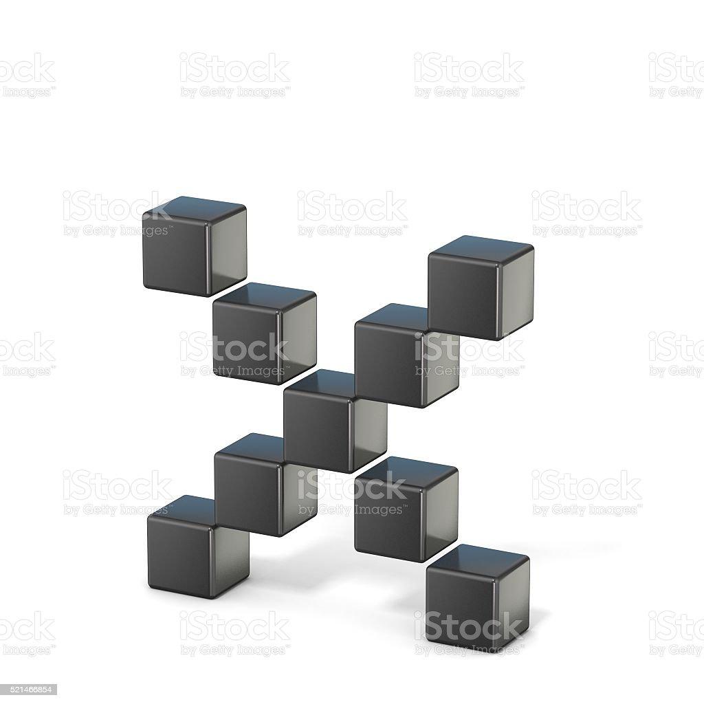 bit font. Lowercase letter X. 3D stock photo