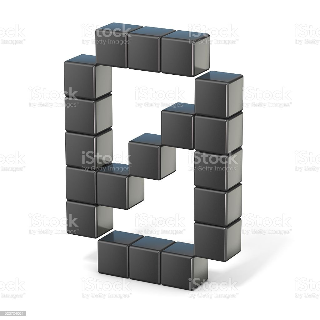8 bit font. Number 0. 3D stock photo