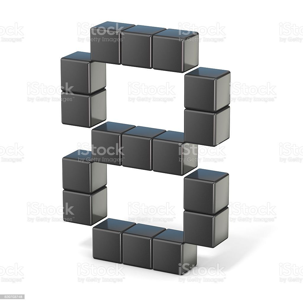 8 bit font. Number 8. 3D stock photo