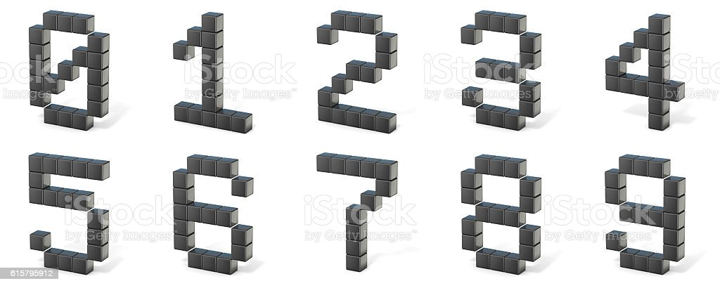 8 bit font. Numbers. 3D stock photo