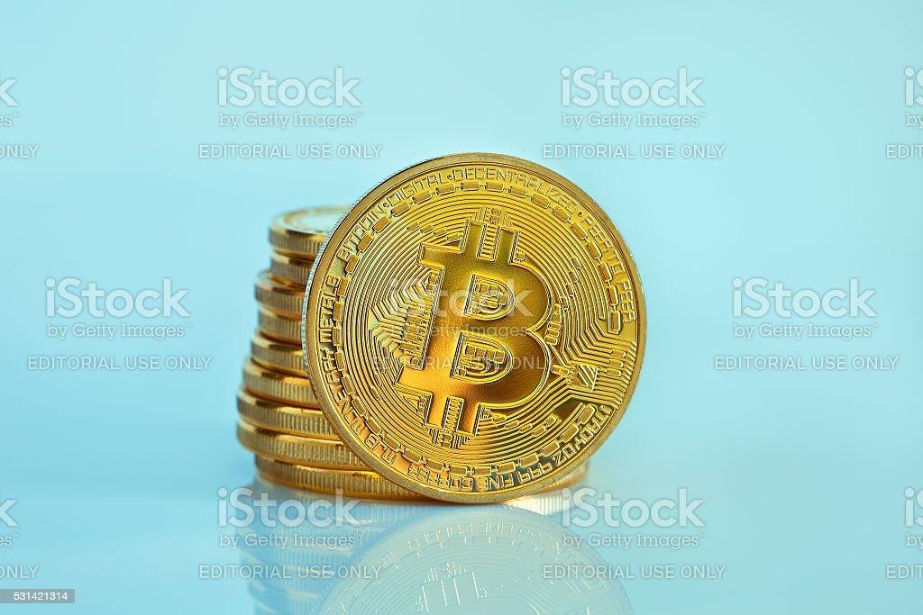 Bitcoin (new virtual money ) stock photo