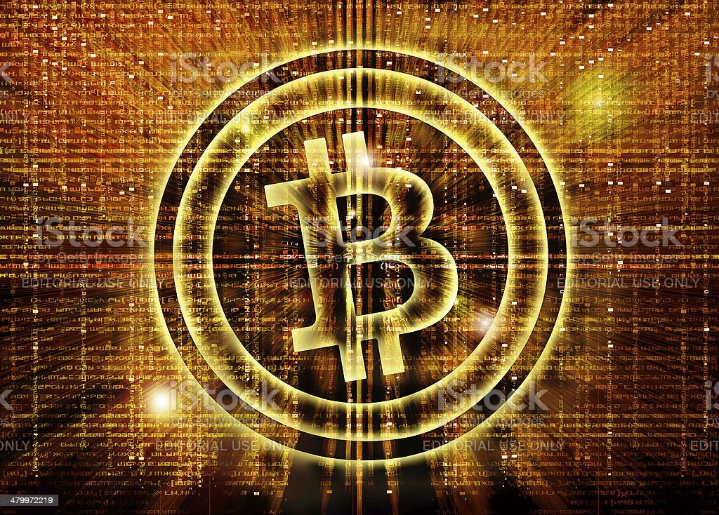 bitcoin symbol digital abstract background stock photo