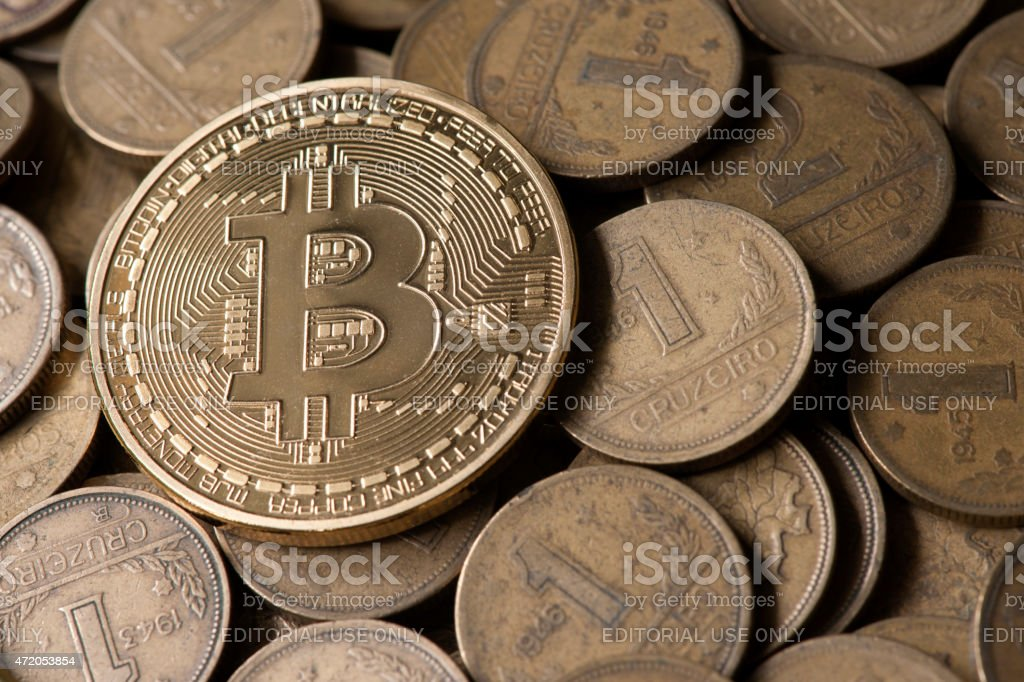 Bitcoin, virtual internet currency. stock photo