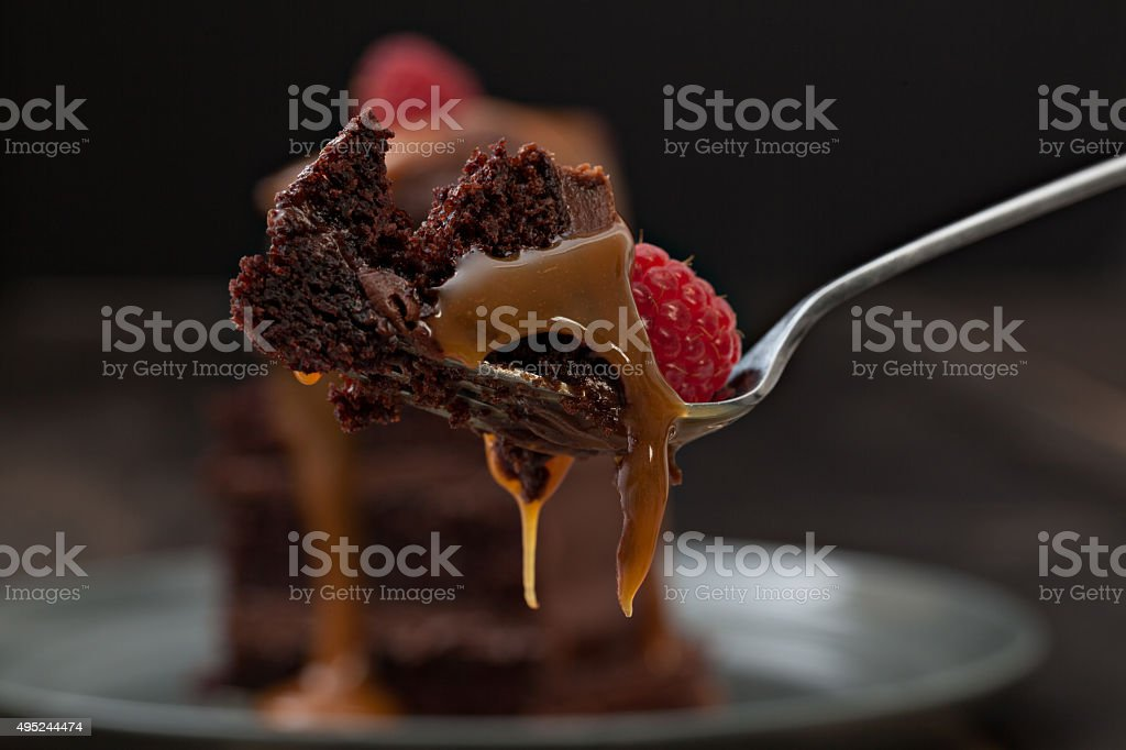 Bite Of Chocolate Cake stock photo