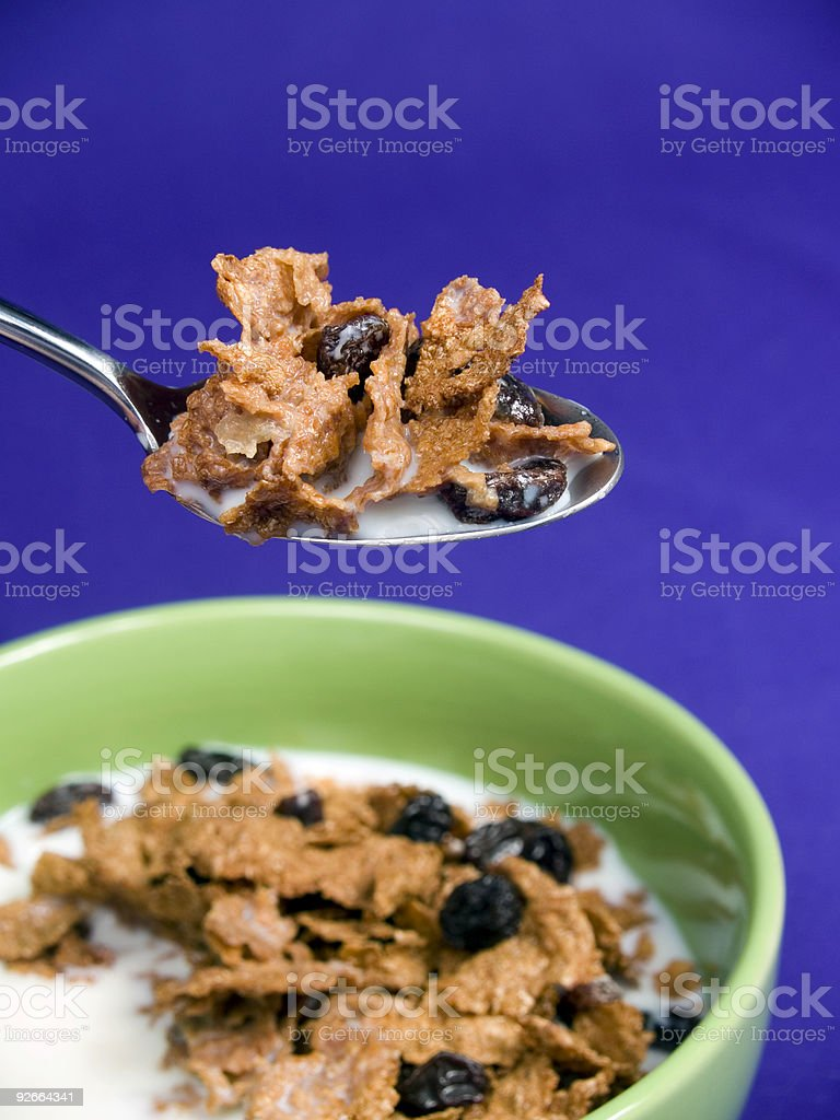 Bite of Raisin Bran Cereal royalty-free stock photo
