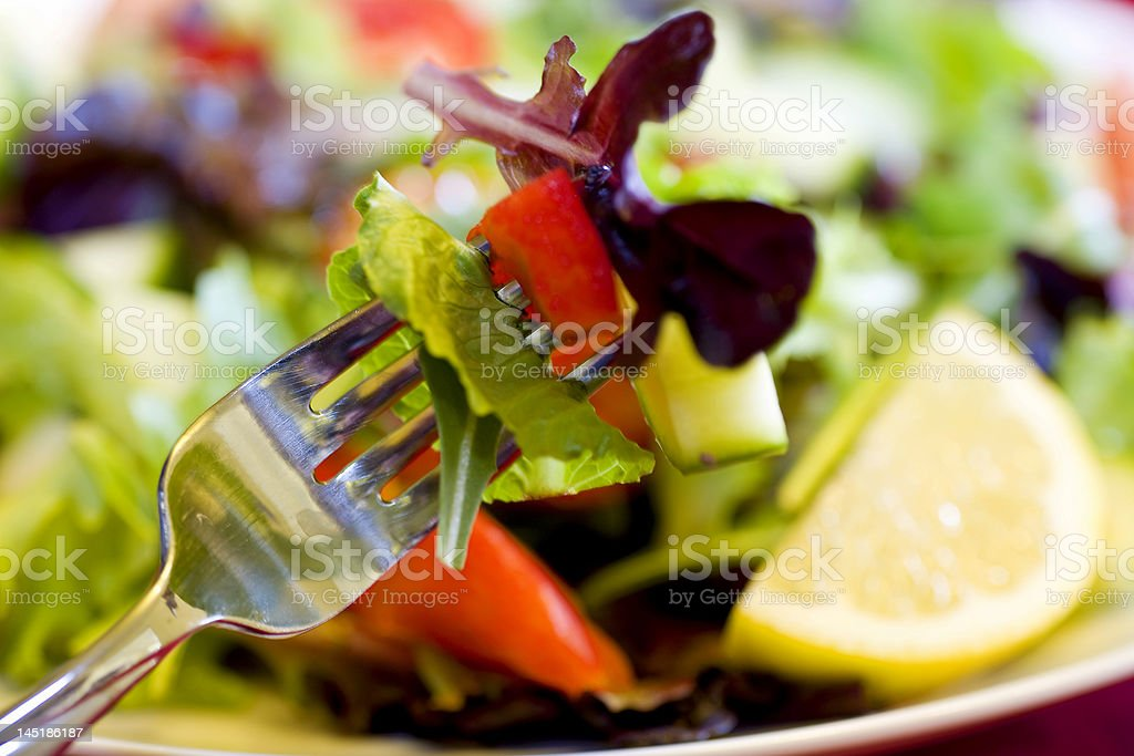 Bite of Salad on Fork royalty-free stock photo