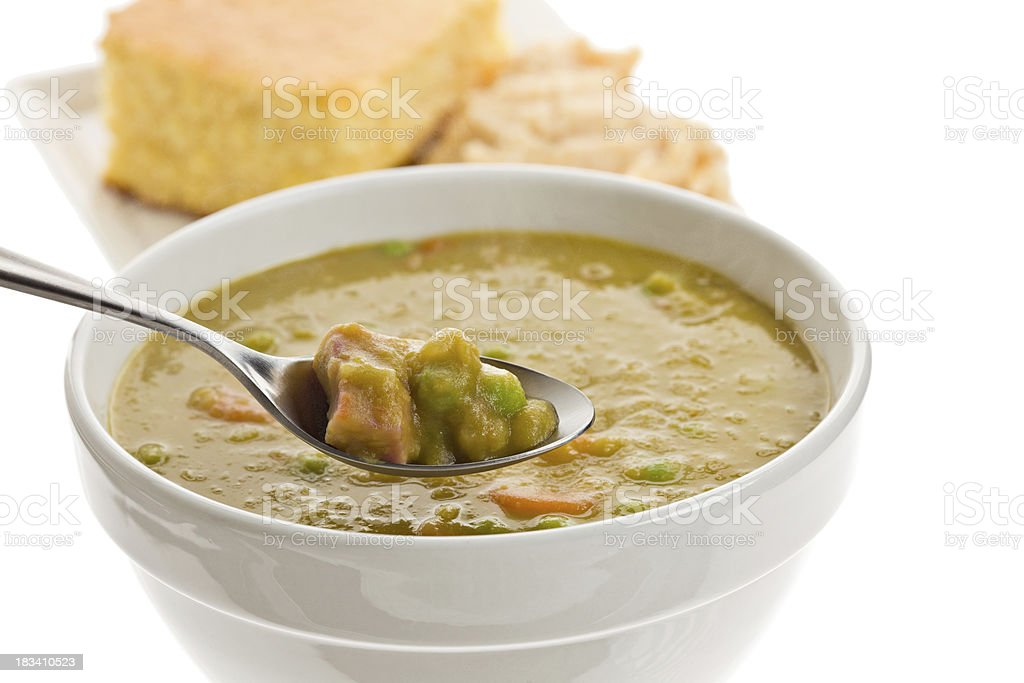 Bite Of Split Pea Soup Isolated stock photo