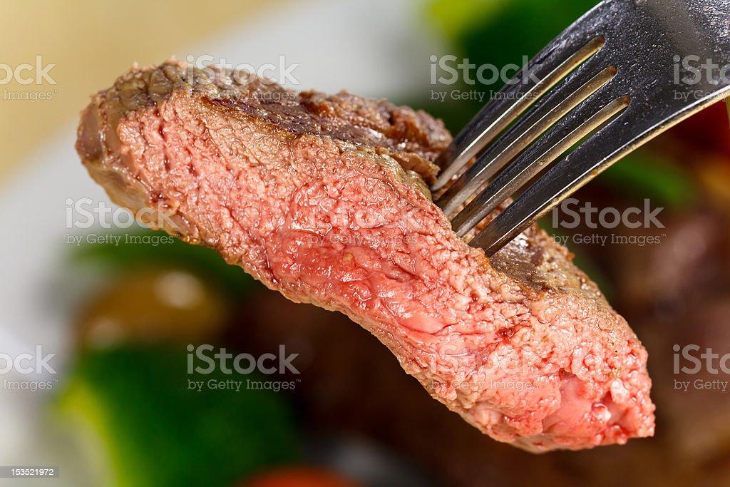 Bite Of Steak,Chunk stock photo