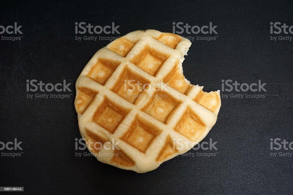 bite of waffle stock photo
