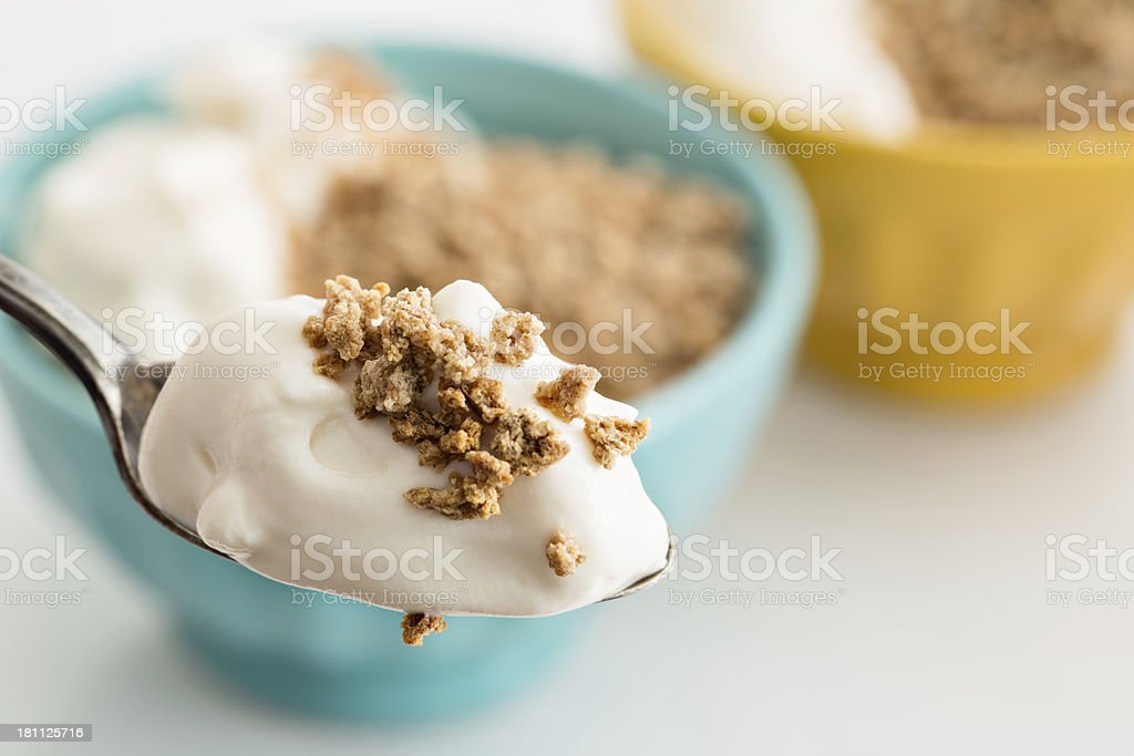 Bite Of Yogurt And Some Cereal stock photo