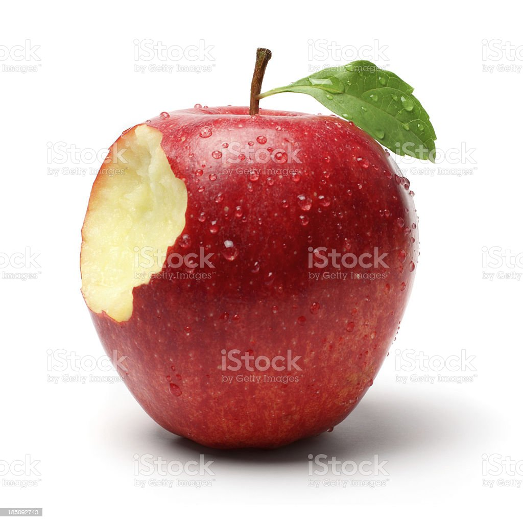 Bite on a Red Apple royalty-free stock photo