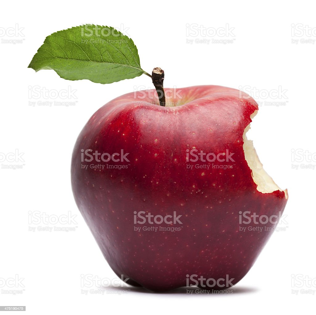 Bite on a Red Apple stock photo