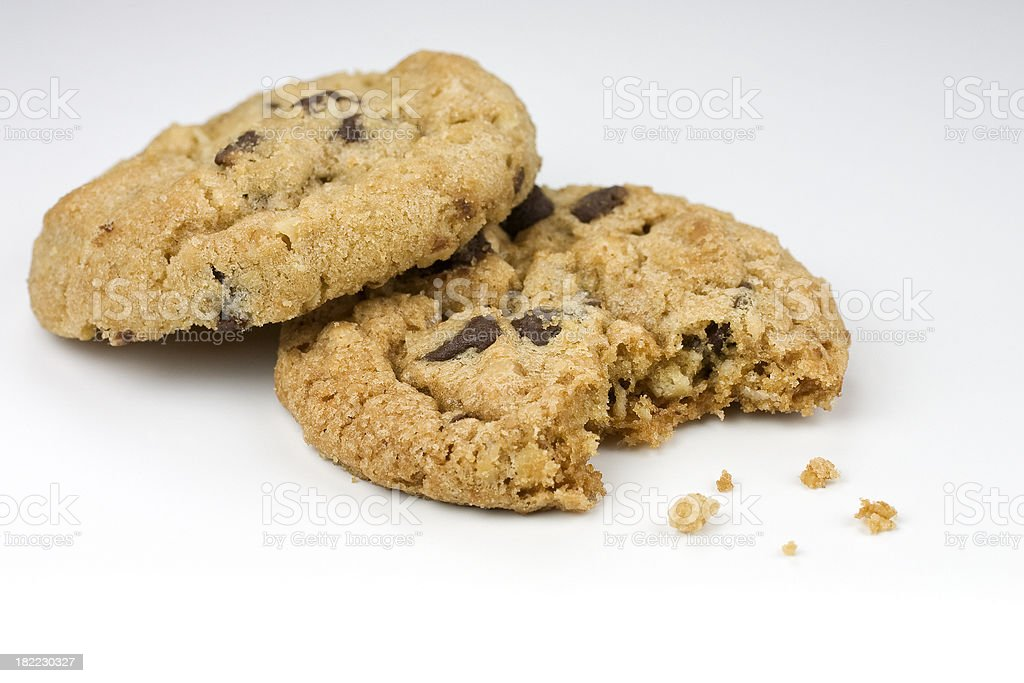 Bite taken of an oatmeal chocolate chip cookie royalty-free stock photo