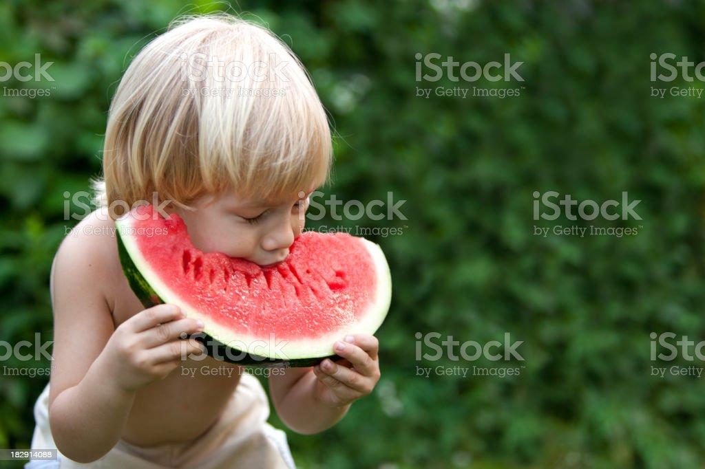 Biting a sweet watermelon stock photo