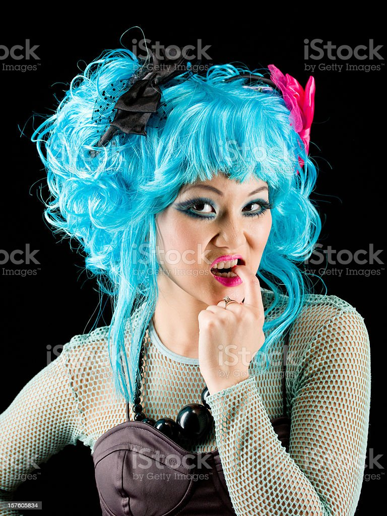 Biting Fingernails Confused Asian Woman Manga Style stock photo