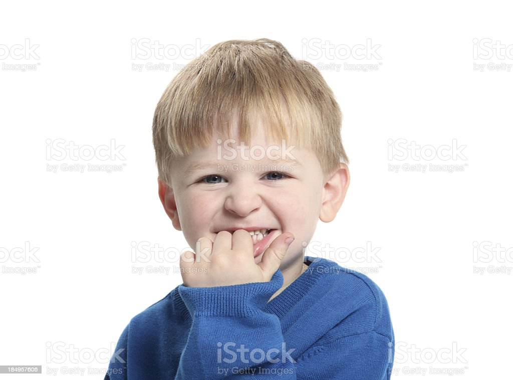 Biting Fingernails stock photo